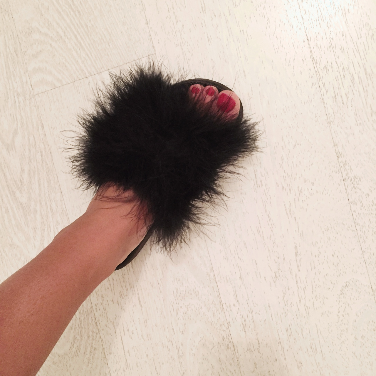 40df044a3e5 slides #sliders flat #fluff #fluffy black sandals... - Depop