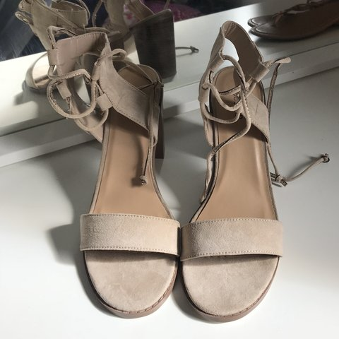 77945cfcb8a Nude block heel sandals from just fab. Never worn and in - Depop