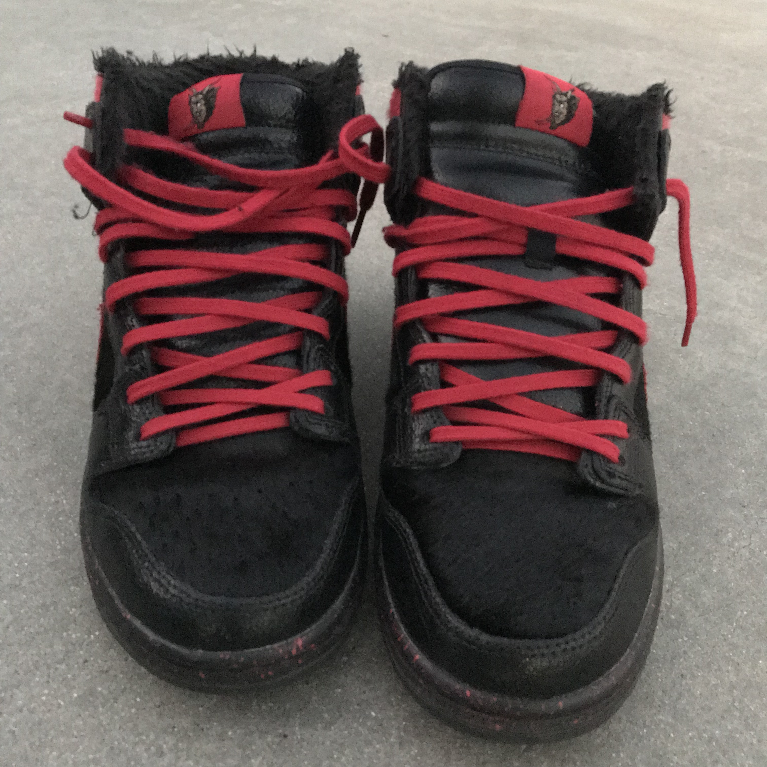 size 40 50f21 a97ee Krampus Nike SB Dunk Highs Leather with Fur in & out... - Depop