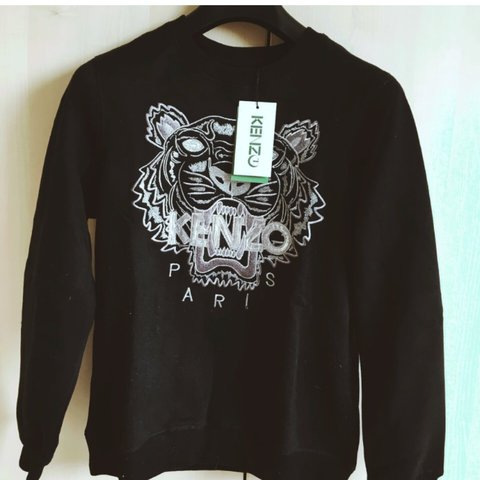 8a4cf5476 Black kenzo jumper with silver tiger . Brand new with tags - Depop
