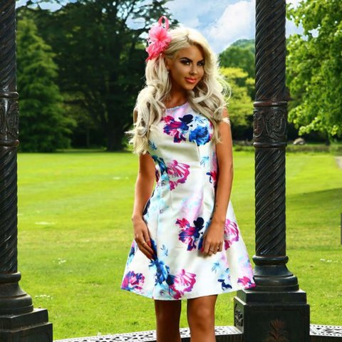 aa9f52ab @popsaunders. 2 years ago. Crowborough, United Kingdom. Pink boutique white floral  skater dress