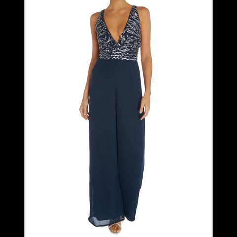 29d8e7f887 Lace and Beads Wide Leg Plunge Jumpsuit 💎 Embellished with - Depop