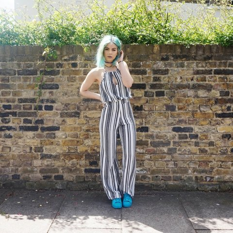 487ae128658 Monochrome stripe jumpsuit for sale - I m 5 ft 4 and perfect - Depop