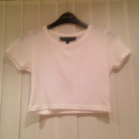 aa79e68b2be Topshop petite white ribbed crop top size 6. Worn a few but - Depop