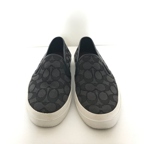 e5cfb0a3ea41 Cute black and grey Coach slip-ons with red insoles. Great - Depop