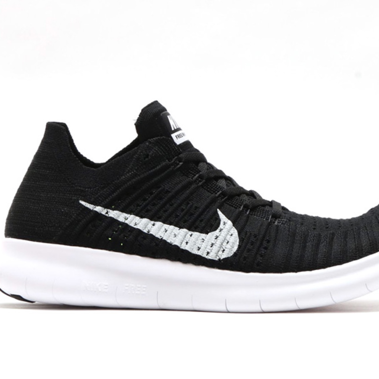 official photos acdeb 3971f Nike Free RN Flyknit trainers women's black size 4.5... - Depop