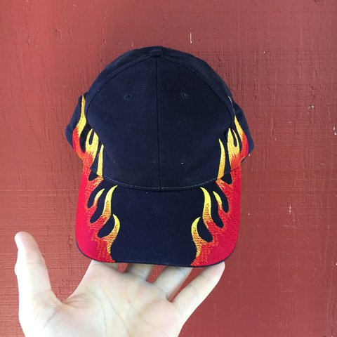 vintage embroidered flame hat 🔥 in great condition - worn - Depop 21e48e02ef7a
