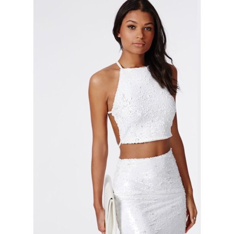 c6b6d4cbc0e59a (New with tags) - Sold out Missguided white sequin crop top - Depop