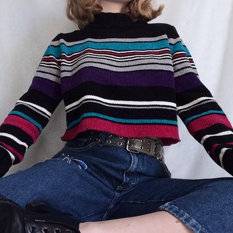 e426aeb8968 slap me silly cuz this is just the cutest striped sweater! a - Depop