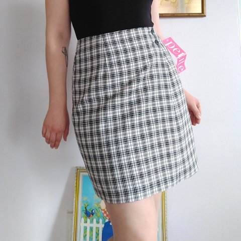 785e1e0bfc NWT Deadstock vintage black and white plaid skirt. Fully are - Depop
