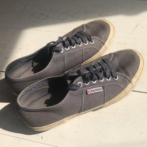 71681bbc0 Superga navy blue trainers plimsolls shoes ~ only worn a and - Depop