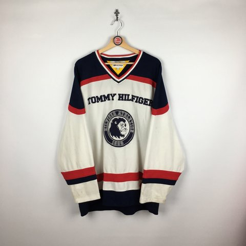 fb4e24b100c Vintage Tommy Hilfiger hockey jersey. Large. Marks and shown - Depop