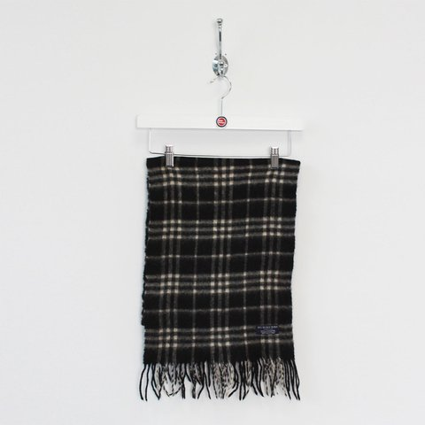f59a42c0c0c2 Vintage BURBERRY scarf. Very good overall condition. BLACK a - Depop