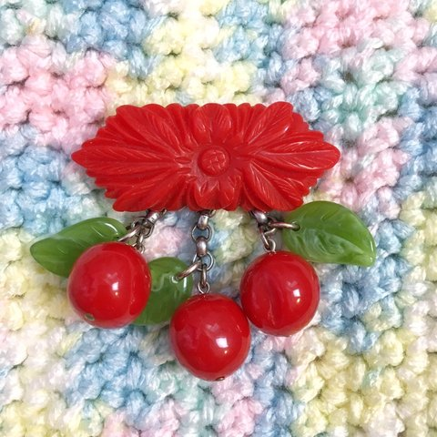 a9f326a246a Vintage cherry brooch. Worn a few times by me but in Would - Depop
