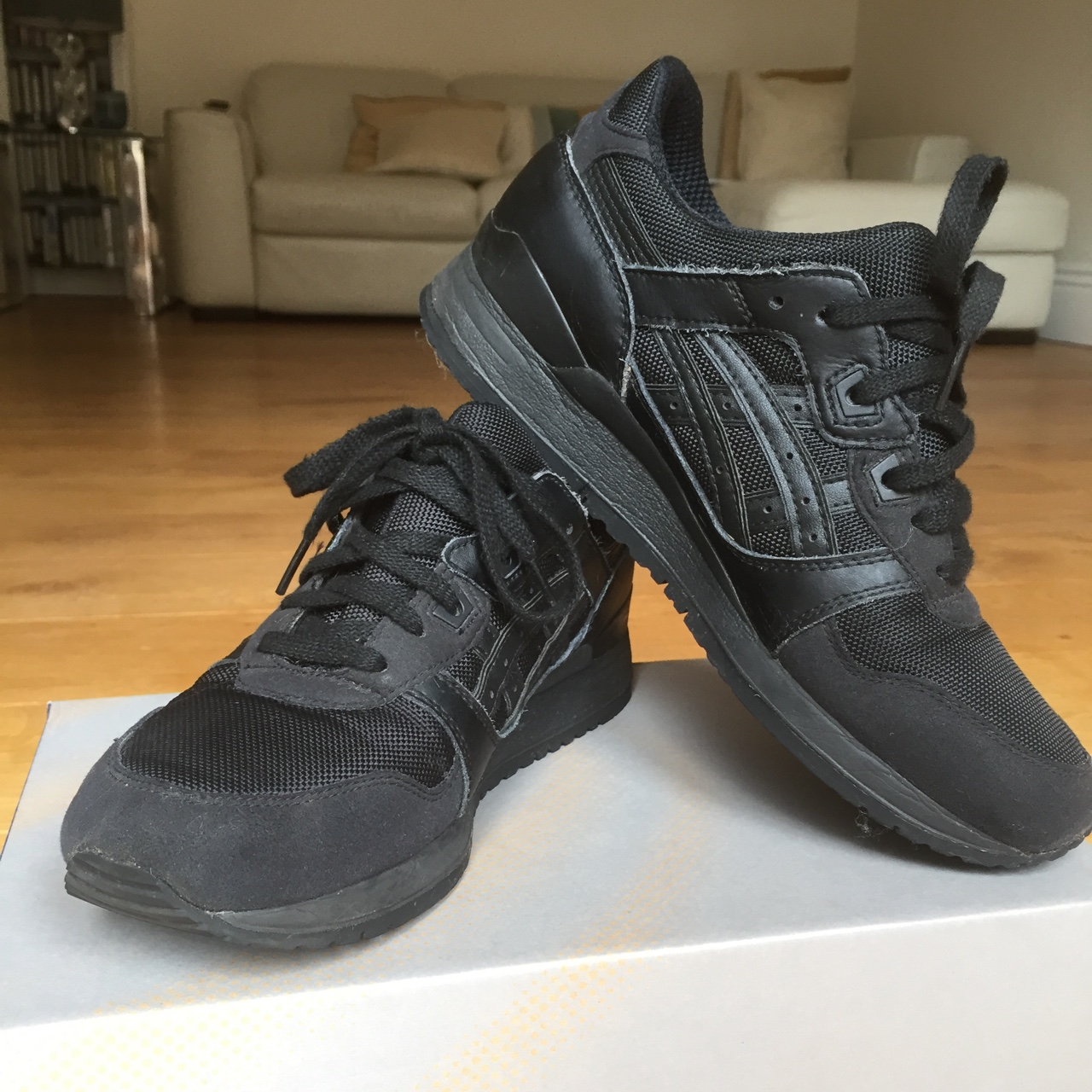 quality design fd520 583d4 Asics Gel-Lyte III all black trainers. Textile and... - Depop