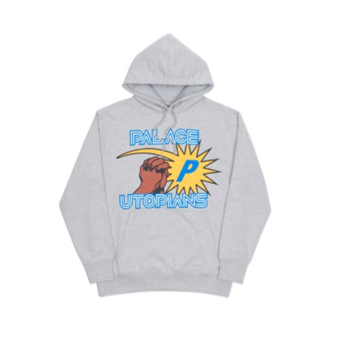 dd50df717272 SOLD - Palace Utopians hoodie from FW16 in grey colour way   - Depop