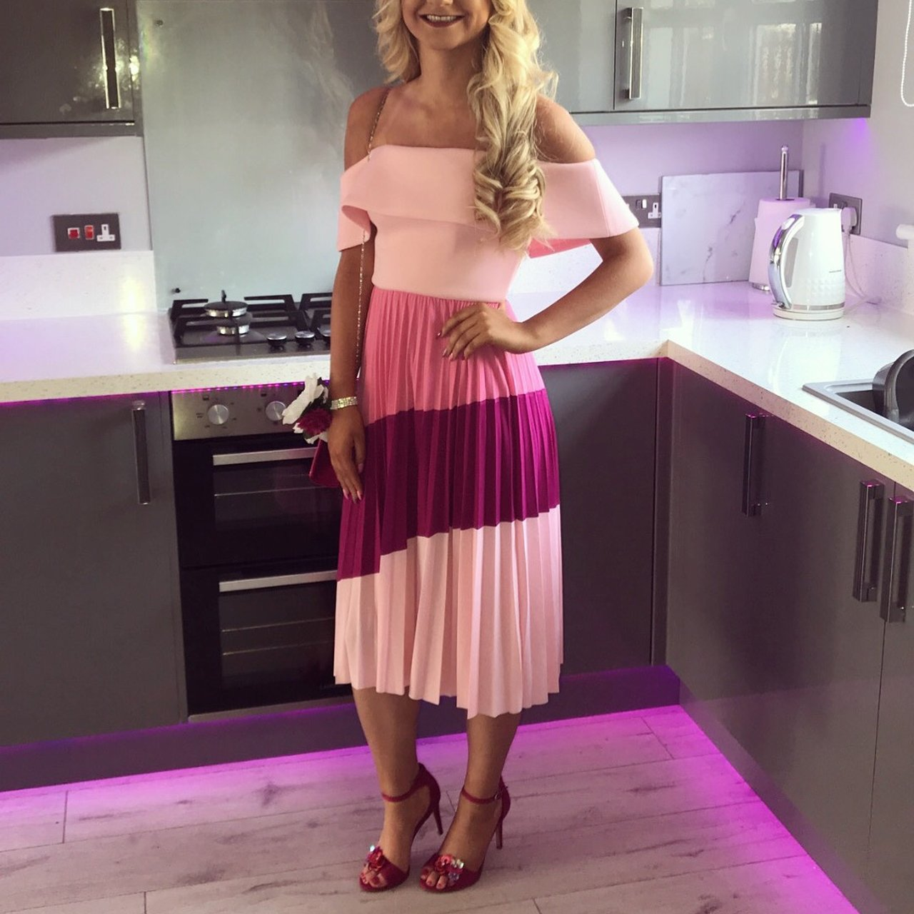 94026c4aafd Pink Asos scuba Bardot pleated midi dress Perfect for a out - Depop