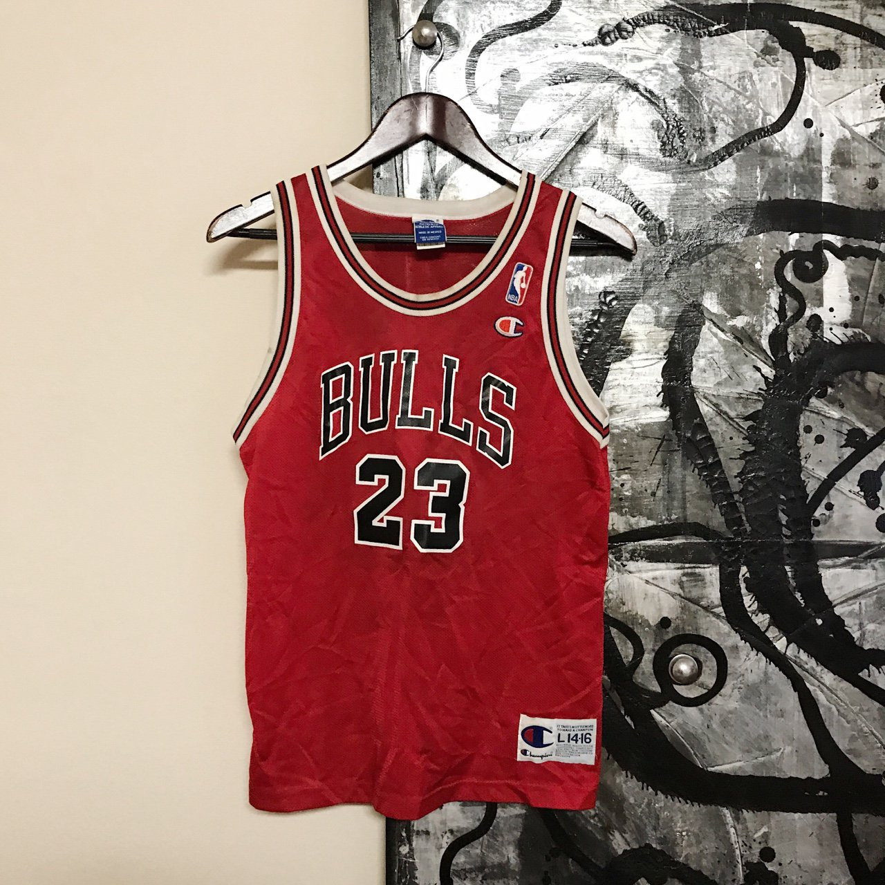 a8e1061743c @thethriftlord. 2 years ago. Los Angeles, United States. Vintage 90s NBA  Chicago Bulls Michael Jordan Basketball Jersey By Champion Size YOUTH L ...