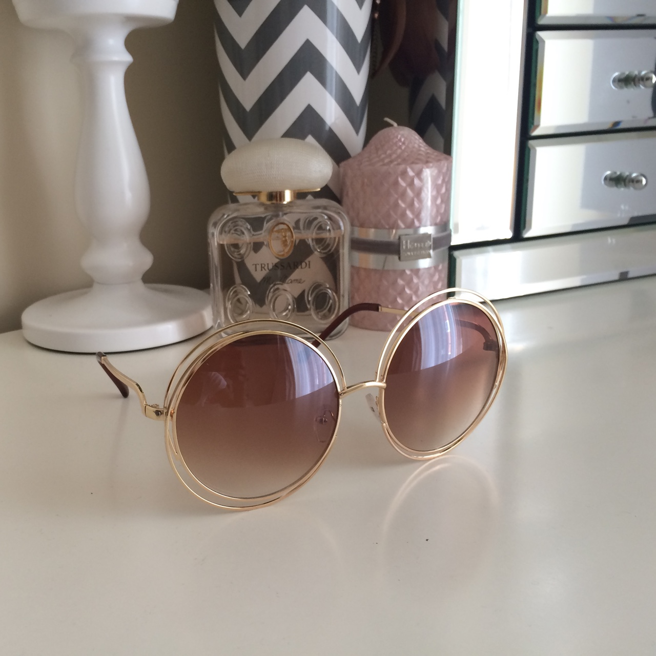 13a713c6 Fabulous round Chloe style sunglasses with gradient... - Depop