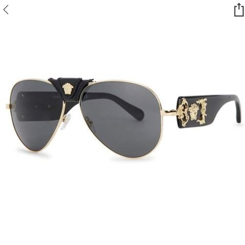 84cd03ba9b Versace aviator sunglasses with leather detailing and gold - Depop