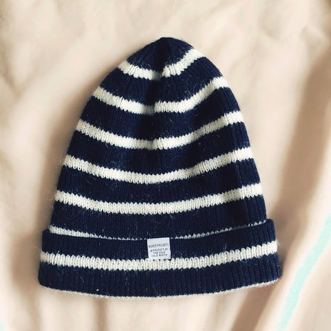 cdbe5f4bf6fa3 Norse Projects merino stripe beanie. One size. Navy White. - Depop