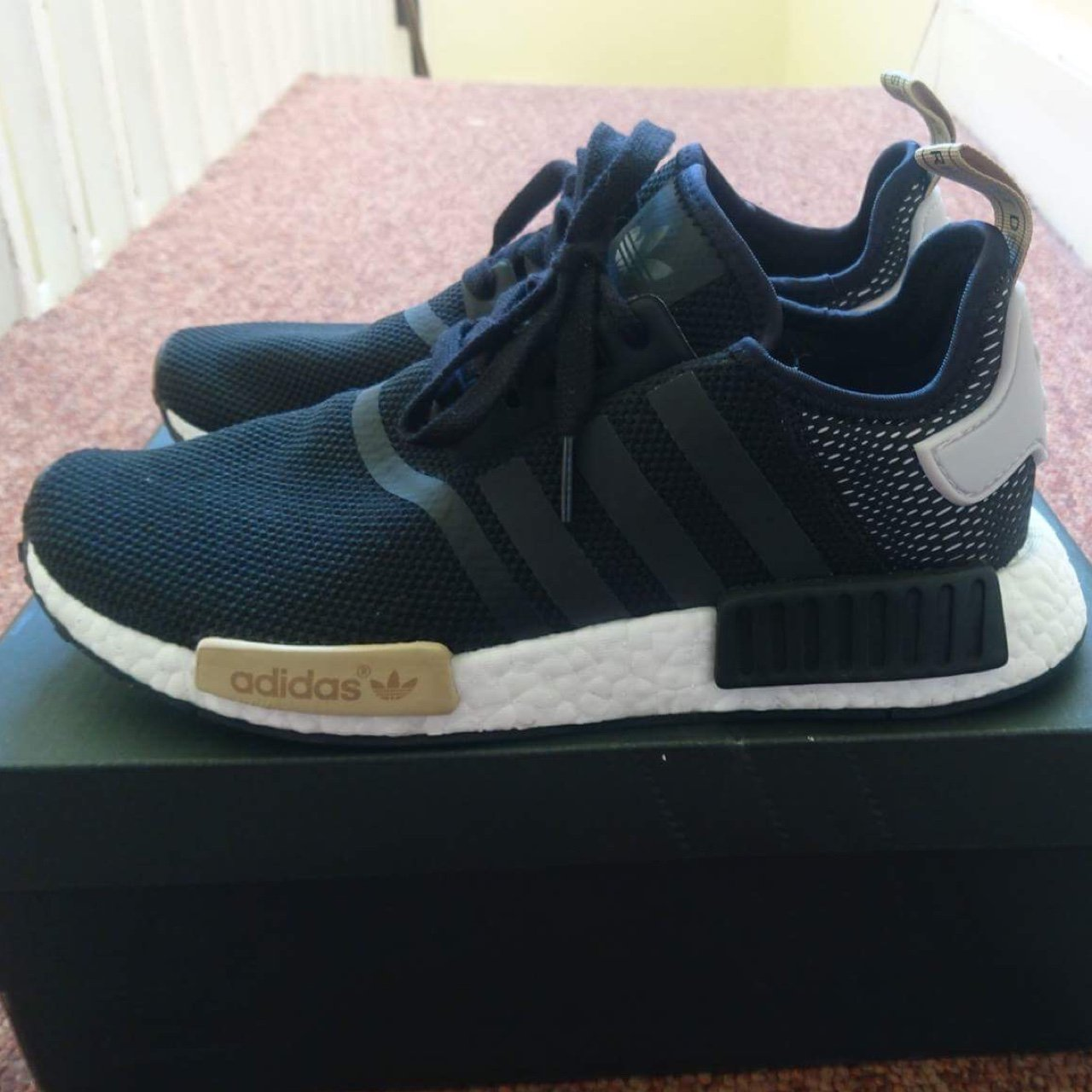 7b8acbf46 ADIDAS NMD R1 BLACK ICE PURPLE (BA7751) U.K SIZE 7- worn too - Depop