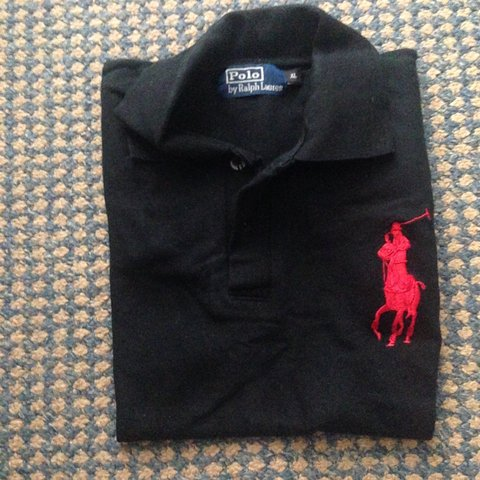 Black and Red Big Pony Ralph Lauren polo shirt,...