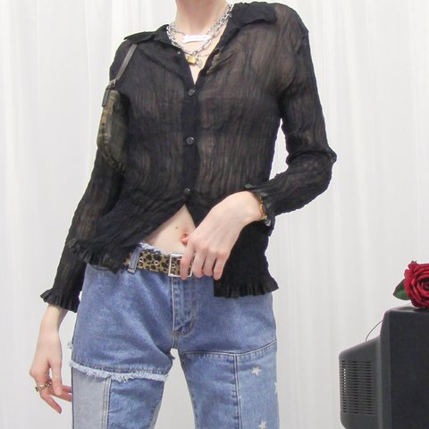 cb23749e @thenamedcollective. 16 days ago. London, United Kingdom. most sxc 90s  black vintage long-sleeve stretch crinkle ruffle sheer mesh top ...