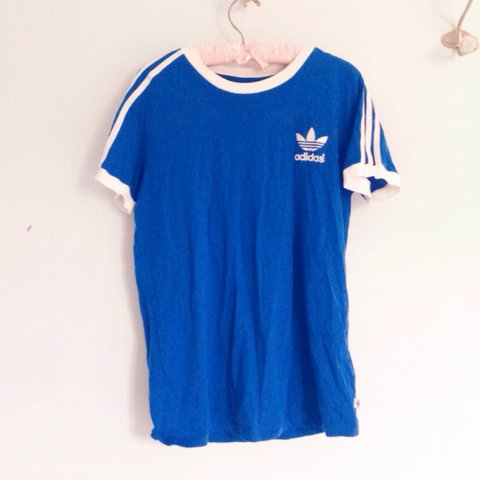 7c2e41c5 @laurajaneday. 3 years ago. Liphook, Hampshire, UK. Adidas blue ringer t- shirt 💕💙💕💙 In great condition.