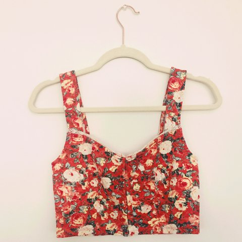 12cfce217ba ~FREE SHIPPING~ • orange floral cropped bustier top • • fit - Depop