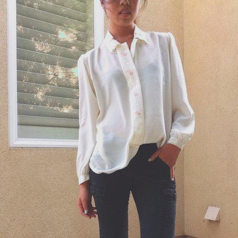 55ea7f7b @closetbykara. last year. Irvine, CA, USA. GORGEOUS button up vintage blouse!  The classic white chiffon shirt with adorable pastel floral embroidery ...