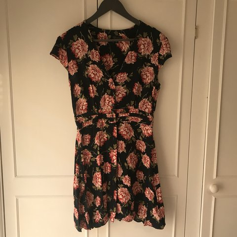 0b8584ae144c Topshop navy and pink floral button down summer dress. once - Depop