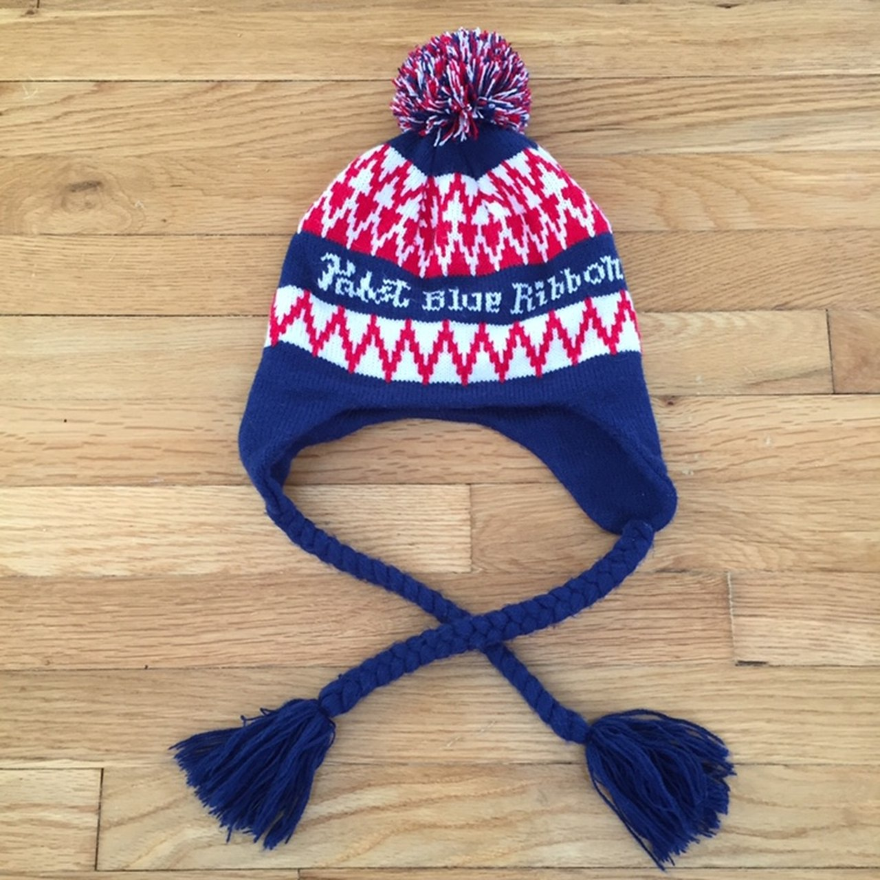 FREE SHIPPING! Pabst Blue Ribbon Pom Beanie! One size fits - Depop a21a0df90ed