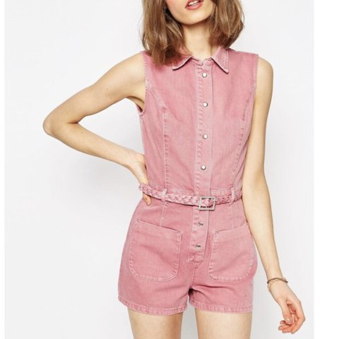 e14a0f959a2c Pink denim playsuit   romper from Asos. Comes with braided - Depop