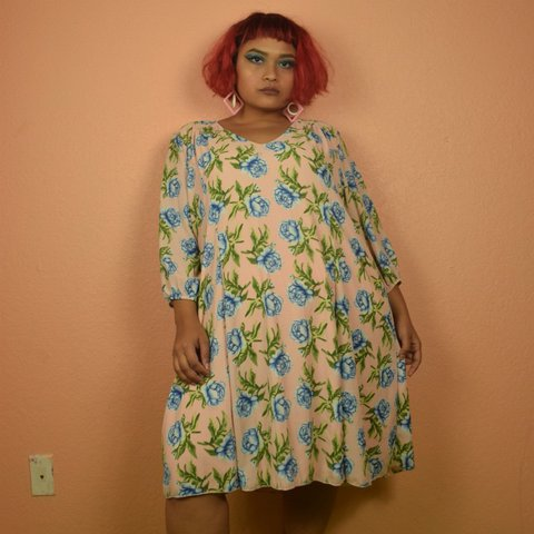d2ee67b375b Peachy plus size floral dress with baby blue roses by Russe - Depop