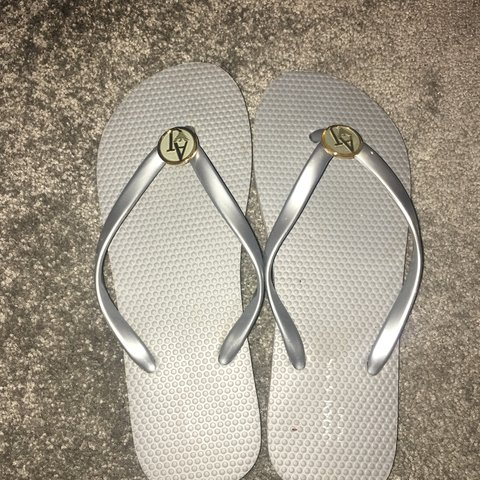 47b708eb1a8f Women s Armani jeans flip flops brought for £60 worn once - Depop