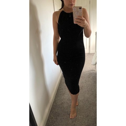 fe0fcf7b @lauren_reader. 8 months ago. Selby, United Kingdom. Zara black backless  midi dress with necklace style fastening size small ...