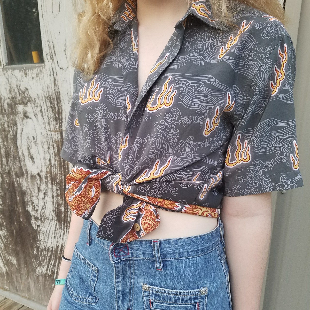 😎Y2K DRAGON SHIRT😎 Button up top with dragons all    - Depop