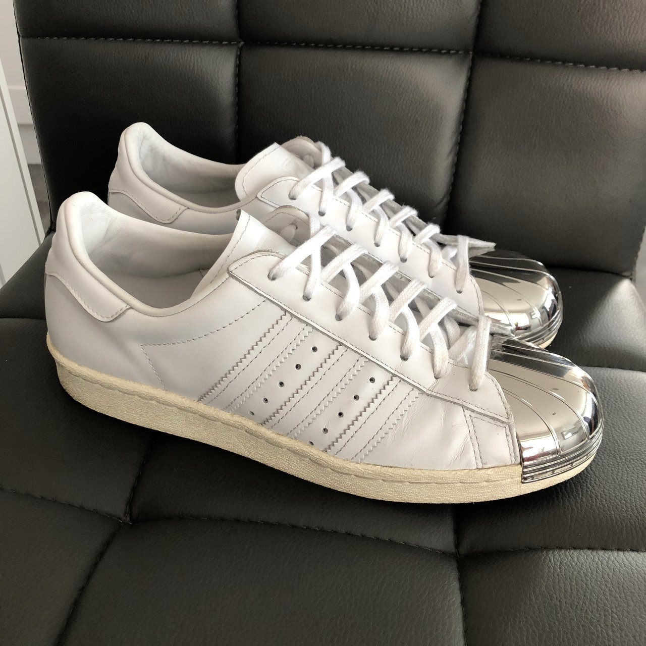 Adidas Superstar with silver toe cap Excellent condition - - Depop 74792bb92