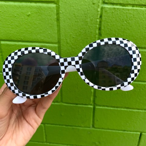 d2b4f4601f6 Black and white checkered clout goggles 🏁 UV protection☀ - Depop