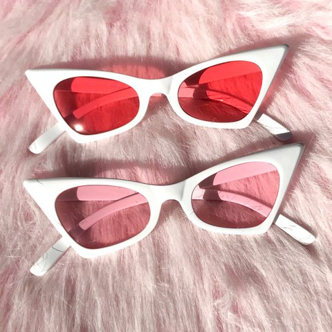 badass retro cat eye sunglasses with white frames and tinted depop