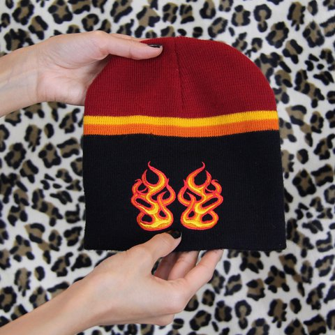 4a59ac0c048 Y2K flame beanie 🔥 One size fits most. Great condition! for - Depop