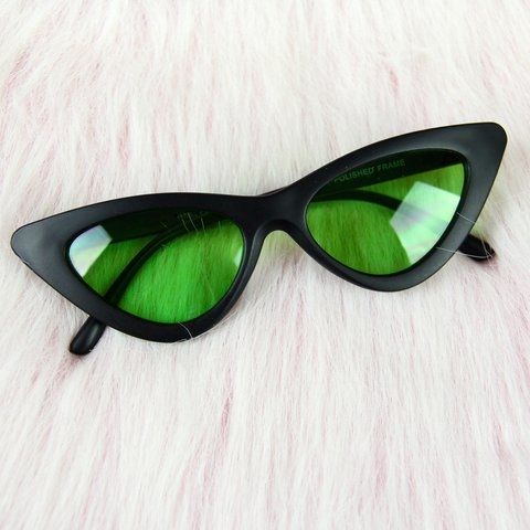 9d7ce91e37e Cateye Sunglasses featuring black frames with alien green UV - Depop