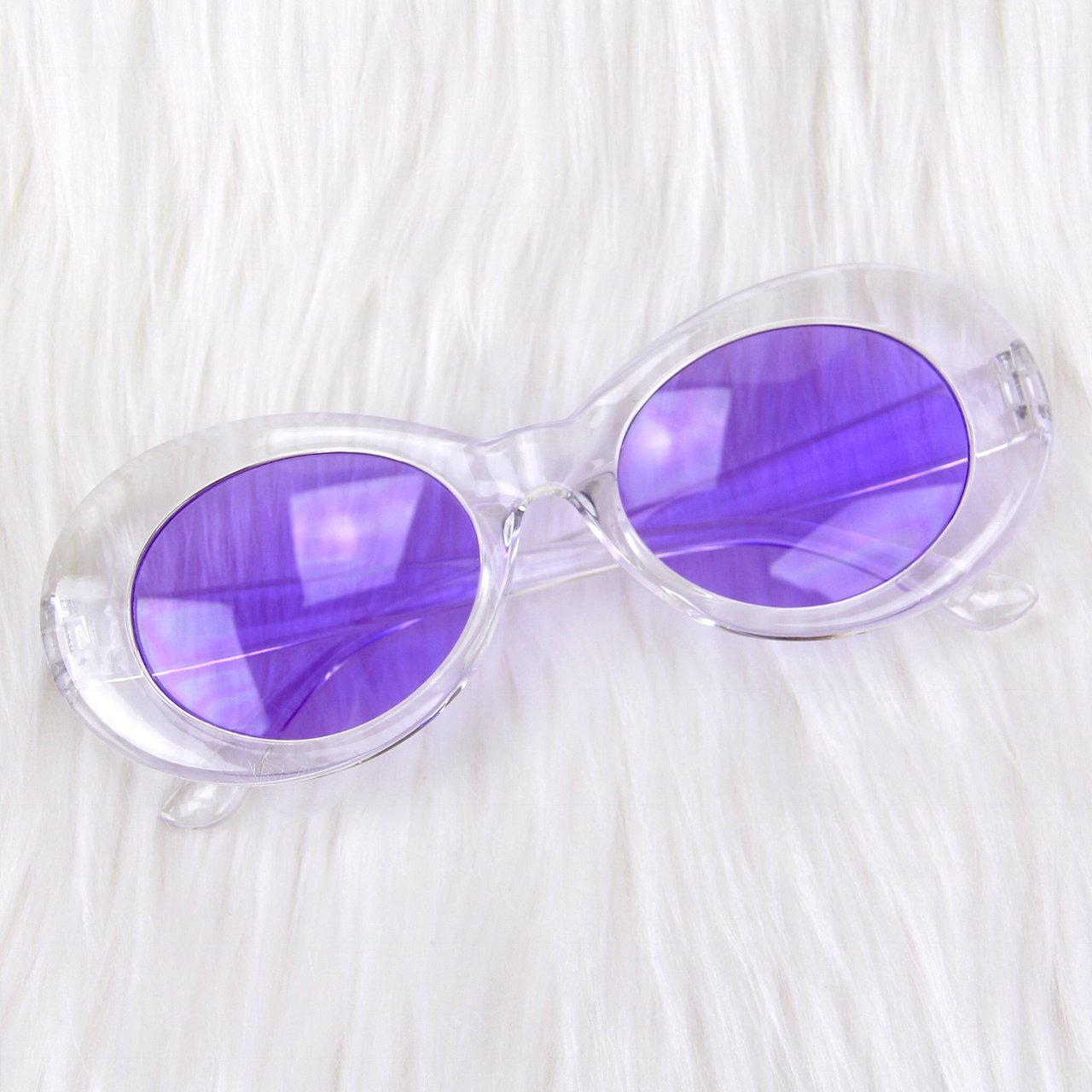 869380c7fb6 Crystal Clear Jelly Clout Goggles with purple tinted lenses - Depop
