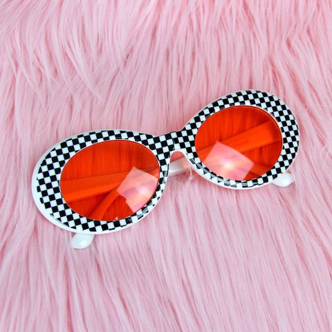39bb288af1abd Checkered Clout Goggles ~ Orangey Red tinted lenses. Unisex. - Depop