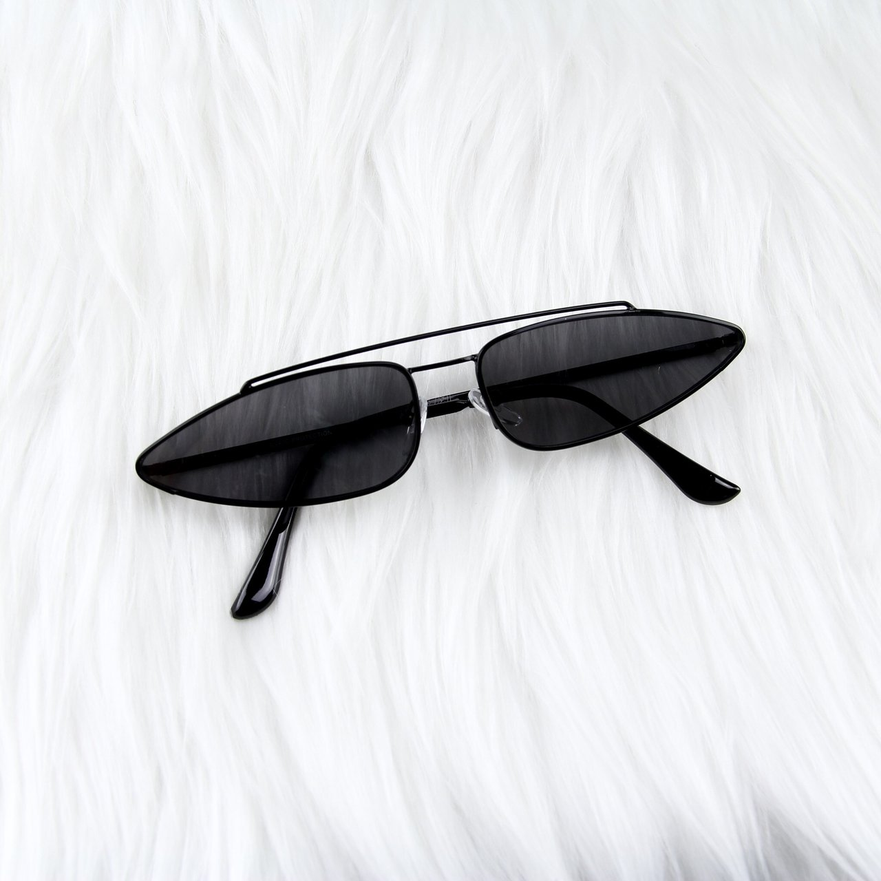 015af4ba2a4 Black Cat Eye Slim Sunglasses • black frames and black UV US - Depop