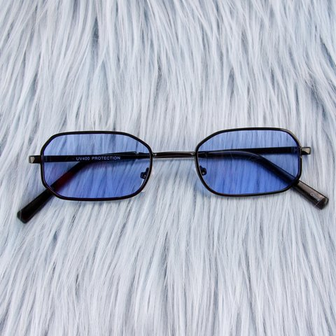 7c3658bb009 Blue Rectangular Hexagon Sunglasses 💙 Black metal frames UV - Depop