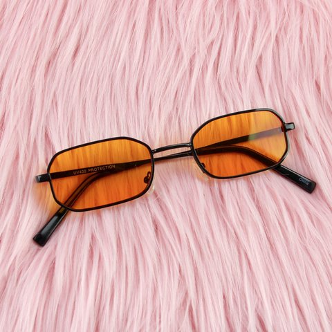 22dc29a6adf Orange Rectangular Hexagon Sunglasses 🔥 Black metal frames - Depop