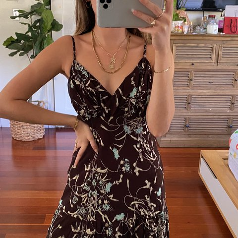 Vintage Brown and Blue Floral Midi Dress 👼🏼