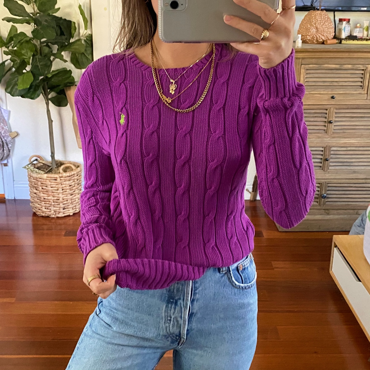 Vintage Bright Purple Ribbed Knit Ralph Lauren Sweater 👼🏼